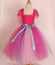 $enCountryForm.capitalKeyWord Australia - New Bright Pink Wedding Dress Princess Skirt for Children Girl screen dress Flower girl dresses Bright Rainbow Evening Dress