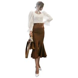 China Korean Women 2 Pieces Set 2019 Autumn Vintage White Puff Sleeve Square Sleeve Bow Tie Shirt Top+Bodycon Fishtail Split Skirt Set cheap korean bodycon skirt suppliers
