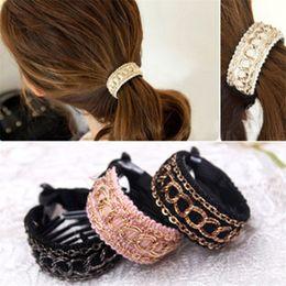 Gold Hair Holder Australia - Fashionable Luxury Cute Women Gold Chain Hair Clip Barrette Ponytail Holder
