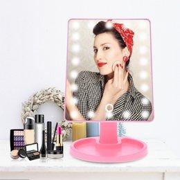 Опт 16/22LED зеркало для макияжа 360 градусов вращения сенсорный экран светодиодный свет зеркало для макияжа USB зарядка компактных зеркал HHA477