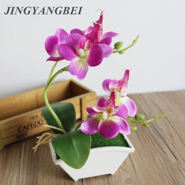 wedding table orchids NZ - Spring Artificial silk flowers Orchid bonsai with vase set table decoration Fake plant tree Butterfly orchid leaf wedding flower