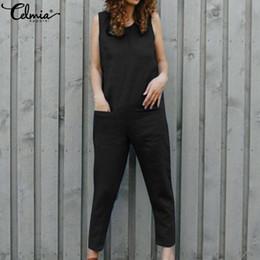 $enCountryForm.capitalKeyWord Australia - Celmia Vintage Linen Rompers 2019 Women Jumpsuits Casual Sleeveles Harem Pants Loose Vintage Playsuits Plus Size Overall Trouser