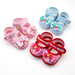 Butterfly prints faBric online shopping - Newborn Baby Girls Cotton Printing Bow Butterfly Prewalker Soft Sole Single Shoes bebek ayakkabi baby schoenen scarpe neonata