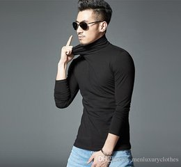 Mens long bottoM t shirt online shopping - Mens Winter Turtleneck Tshirts Solid Color Bottoming Basic T shirts Long Sleeved Slim Fit ALL MATCH Tops
