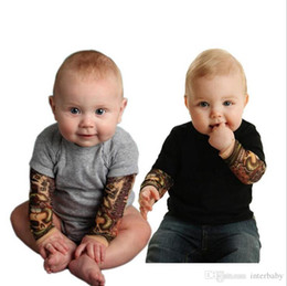 tattoo jumpsuit UK - Kids Designer Clothes Baby Tattoo Romper Ins Boys Long Sleeved Jumpsuits Infant Cotton Onesies Toddler Casual Bodysuits Climb Clothes YL764