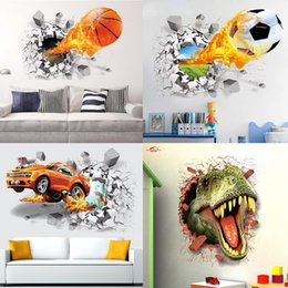 $enCountryForm.capitalKeyWord Australia - PVC wall stickers firing football through for kids room decoration home decals soccer funs 3d mural art sport game poster