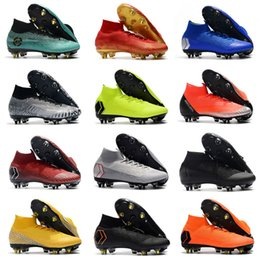 fb1ff7173 Gold Mens Mercurial Superfly VI 360 Elite SG Soccer Shoes Steel CR7 Neymar  JR ACC Outdoor football boots Cristiano Ronaldo 12 Soccer Cleats