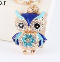 cute car keychains 2020 - Bling Bling Crystal Rhinestone Cute owl Metal Keychain Keyring Car Keychains Purse Charms Handbag Pendant metal animal p