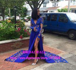 $enCountryForm.capitalKeyWord NZ - New 2019 Royal Blue Lace Appliques Evening Dresses High Leg Split Black Girls Formal Party Dress for Black Women Formal Celebrity Maxi Gowns