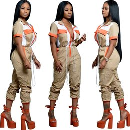 $enCountryForm.capitalKeyWord Australia - Hot Women 2 Piece Lightweight Windbreaker Pullover Jacket Crop Top Long Pants Set Outfits V-neck Tracksuit Short Sleeve Jumpsuits
