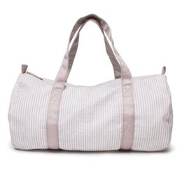 $enCountryForm.capitalKeyWord NZ - Wholesale Blanks Grey Stripe Seersucker Kids duffle Bag In Cotton Fabric With Zipper Closure Kids School Bag DOM1051097