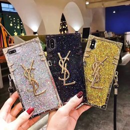 Wholesale Bling Bling Square Lattice Long Lanyard Back Cover Shinning Plating Printed Letter Phone Shell Shoulder Strap for iPhone XS Max XR s