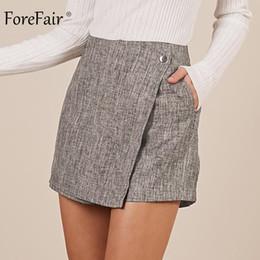 bf72b5e1ac8aaf Forefair Sexy Mini High Waist Skirt Shorts Women Irregular Trendy Vintage  Wide Leg Office Work Linen Short Pants Winter Y190429