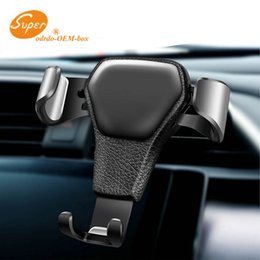 cell phone holder clamp Australia - Grained Leather Cell Phone Vehicle Holder, Auto-Clamping Air Vent Car Mount Holder Cradle Compatible for iPhone Samsung and More