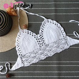 $enCountryForm.capitalKeyWord NZ - Aipbunny 2018 High Quality Crochet Knitted Halter Bikini Tops maillot de bain femme Swimwear Bathing Suit Women Swimsuit biquini