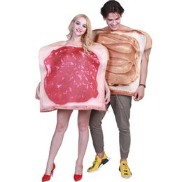 Wholesale super women costumes online – ideas Bread and Jam Couples Theme Party Costumes Women and Mens Novelty Halloween Costumes Halloween Food Costumes
