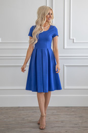 rustic yellow bridesmaid dresses Australia - 2019 New Royal Blue Crepe Short Modest Bridesmaid Dresses With Cap Sleeves Knee Length A-line Rustic Modest Maids of Honor Dress
