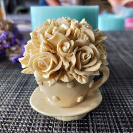 cake candle molds Australia - HC0120 Flower rose cup silicone mold soap mould Flower handmade soap making molds candle mold T200703