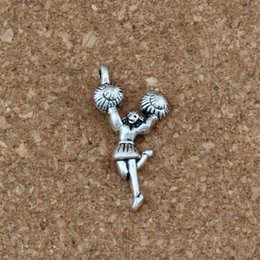 cheerleader charms wholesale Australia - Cheerleader girl Charms Pendants 100Pcs lot Antique silver Fashion Jewelry DIY Fit Bracelets Necklace Earrings 13x28.8mm A-350