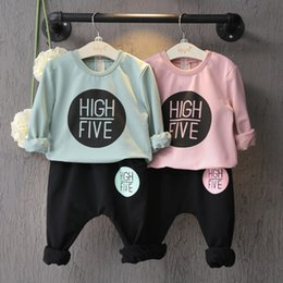 winter baby suit designs 2019 - New design baby girls spring autumn outfits High Five letters printed hooded tops+pants 2pc set girls clothing suit chil