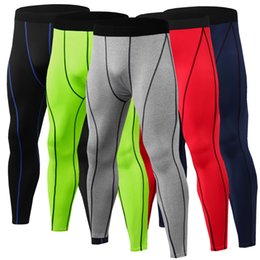 Tiered Leggings NZ - Wholesale 2019 Wholesale Compression Leggings Men's Tight Fitting Trouser Sports Fitness Running Wicking Quick Dry Trousers Cycling Pants