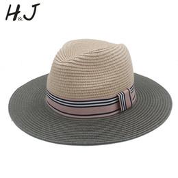 ElEgant straws online shopping - 2017 Summer Women Floppy Wide Brim Straw Panama Sun Hat For Elegant Lady Chapeu Feminino Fedora Beach Sunhat CM