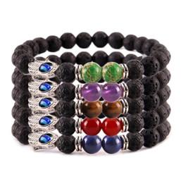 $enCountryForm.capitalKeyWord Australia - new 8mm lava energy chakra bracelets Jewelry Unisex colorful beads bracelets Hand of Hamsa Fatima Charm free shipping