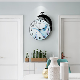 $enCountryForm.capitalKeyWord Australia - New 3D Cartoon Whale Acrylic Sea Blue Round Wall Clock Modern Design Creative Silent Home Decorative Quartz Clocks Free Shipping