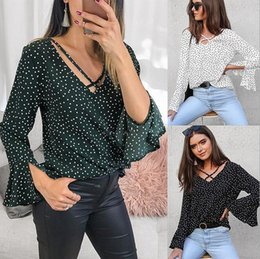 trumpet sleeve blouse NZ - European and American leisure polka dot shirts, trumpet sleeves, V-neck chiffon shirt, blouses