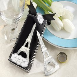 Gift boxes eiffel online shopping - 50pcs Creative novelty home party items The Eiffel Tower bottle opener wedding favors gift box packaging EEA661