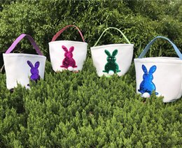 Cute Canvas Handbags Australia - Mermaid Sequins Easter Basket Canvas Rabbit Bags Bunny Storage Bag DIY Cute Easter Gift Handbags Rabbit Ears Put Easter Eggs Baskets