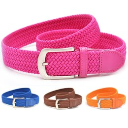 $enCountryForm.capitalKeyWord Australia - 12 Colors Unisex Canvas Woven Elastic Stretch Waist Belts Classic Needle Buckle Waistband for Women and Men without Box