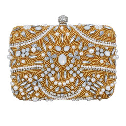 Gold Beaded Evening Bag long Chain Handcraft Pearl beads Clutch Bags Ladies  Wedding Bridal Handbags Purse Day Clutches b46a9599d542