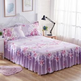 flower silver sheet 2019 - 3PCS Bedding Sets King Queen Bed skirt Sheet set Flowers linens Bed Mattress Cover Bedspread Bedding,1 Skirt 2 Pillowcas