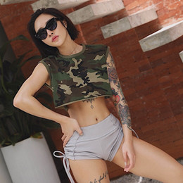 Ladies Camouflage Tops Australia - Summer Ladies Camouflage Yoga Shirt Top tee Sleeveless Dance exercise Crop Tops cropped for women Gym fitness t-shirts Tank #708398
