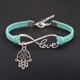 man evil eye bracelet Australia - Infinity Love Evil Eye Hamsa Fatima Palm Bracelets For Women Men Exquisite Green Leather Suede Rope Velvet Jewelry Christmas Festival Gifts