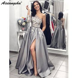 white lace long sleeve maternity dress Australia - Grey Satin Evening Gown 2019 one shoulder A-Line Sexy Split White Lace Long Prom Dresses with Pockets One Shoulder Long Sleeves Prom Dress