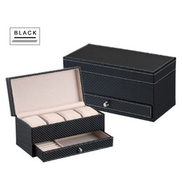 $enCountryForm.capitalKeyWord Australia - wholesale Watch Jewelry Box Black Leather Watch Display 2 Layer Box 4 Slot Organizer Lockable Case Drawer Wedding Birthday Gift