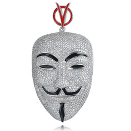 v vendetta cosplay UK - Movie V for Vendetta ANONYMOUS Mask Jewelry Exaggerated Hacker Mask Necklaces Trendy Jewelry For Men Women Cosplay Gift
