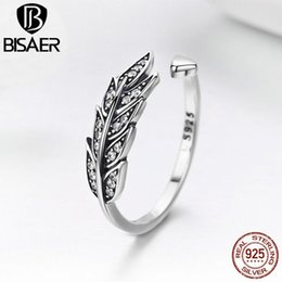 angel wing finger NZ - Authentic 100% 925 Sterling Silver Angel Feather Adjustable Wings Finger Ring Women Sterling Silver Jewelry Wedding Gift