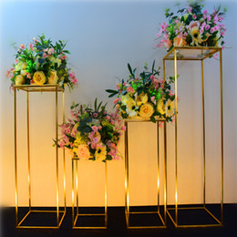 doctor props NZ - shiny gold geometric box crafts prop for wedding cake holder table centerpieces flower rack arches backdrop door road lead flower stand