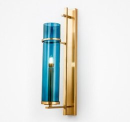 sconce bronze Australia - Creative Design Wall Sconce Lighting Blue Glass Lampshade Wall Lamp Gold Bronze LED Wall Light Fixture For Bedroom LLFA