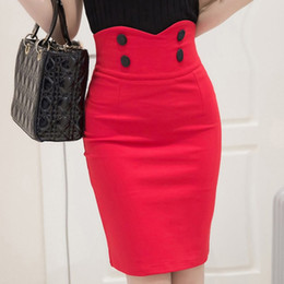 Wholesale black pencil skirt slit for sale - Group buy 2019 High Waist Elastic Women Skirts Elegant Slim Solid Color Black Red Double Button Sexy Back Slit Pencil Skirts For Women