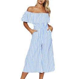 Wide Leg Jumpsuit Blue Australia - Jumpsuit Women 2019 Blue Jumpsuit Fashion Women Off-Shouder Striped Long Trousers Casual Wide Leg Pants mono mujer-30