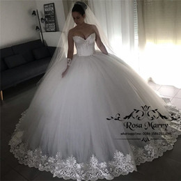 corset puffy wedding dresses Australia - Princess Ball Gown Lace Wedding Dresses 2020 Corset Sweetheart Plus Size Beaded White Puffy Tulle Arabic Vestido De Novia Bridal Gowns
