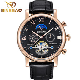 Discount moon phase calendar watch - Men Automatic Mechanical Watch Fashion Casual Luxury Top Brand Sports Original Leather Business Phase Moon Watches