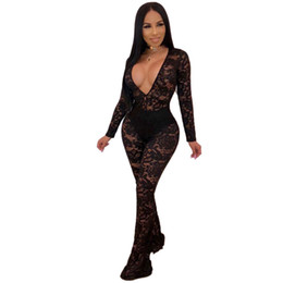 4fd7ba1dbf9 Lace Mesh Patchwork Sexy Black Bodysuit Women Deep V Neck Long Sleeve See  Through Jumpsuit Elegant Mujer One Piece Party Overall