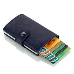 $enCountryForm.capitalKeyWord UK - Cizicoco men Antitheft metal card holder fashion RFID aluminium credit card holder crazy horse PU leather travel card wallet