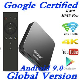 google iptv box Australia - 1PCS 4GB 32GB KM9 Smart TV Box Google Certified Android 9.0 S905X2 Voice Control 2.4 5G Wifi 4K Media Player IPTV