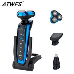 Ingrosso ATWFS Uomo lavabile ricaricabile elettrico 3 in 1 rasoio elettrico barba rasatura macchina rasoio ricaricabile